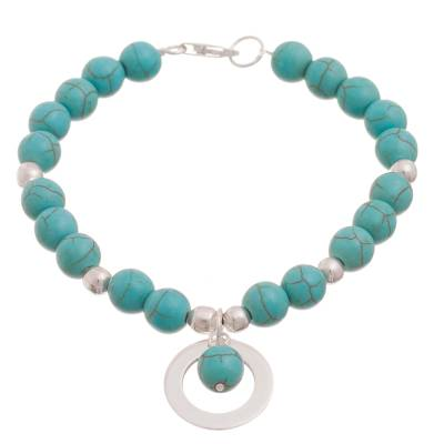 Reconstituted Turquoise Beaded Bracelet with Charm from Peru