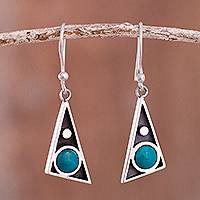 Chrysocolla dangle earrings, 'Geometric Movement' - Triangular Chrysocolla Dangle Earrings from Peru