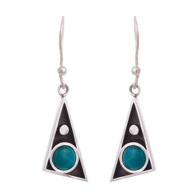 Triangular Chrysocolla Dangle Earrings from Peru