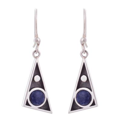 Triangular Sodalite Dangle Earrings from Peru