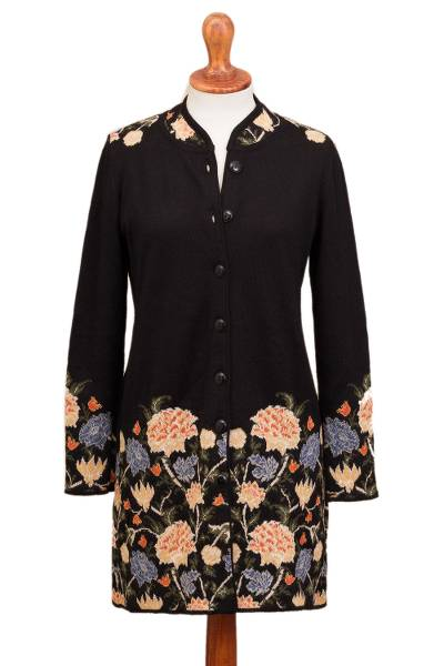 100% baby alpaca long cardigan, 'Midnight Floral' - Floral Pattern Knit 100% Baby Alpaca Long Cardigan from Peru