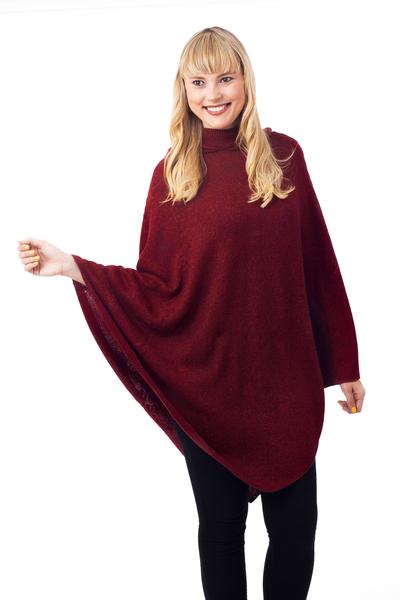 Knit Alpaca Blend Hooded Poncho in Crimson from Peru