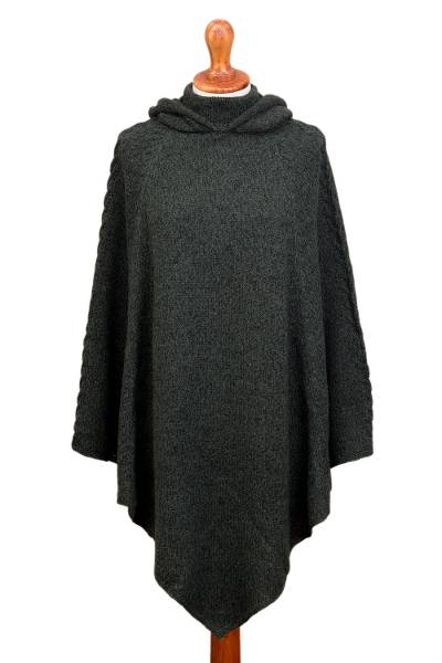Knit Alpaca Blend Hooded Poncho in Moss from Peru