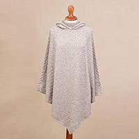 Alpaca blend hooded poncho, 'Adventurous Style in Taupe' - Knit Alpaca Blend Hooded Poncho in Taupe from Peru