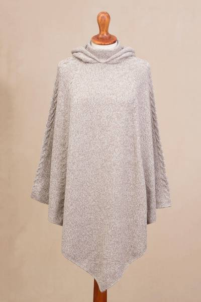 Alpaca blend hooded poncho, Adventurous Style in Taupe