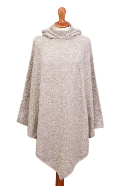 Knit Alpaca Blend Hooded Poncho in Taupe from Peru