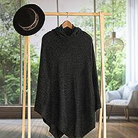 Alpaca blend hooded poncho, 'Adventurous Style in Slate' - Knit Alpaca Blend Hooded Poncho in Graphite from Peru