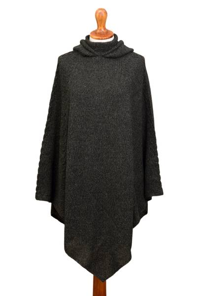 Knit Alpaca Blend Hooded Poncho in Graphite from Peru