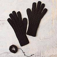100% alpaca gloves, 'Winter Delight in Black' - 100% Alpaca Knit Gloves in Black from Peru