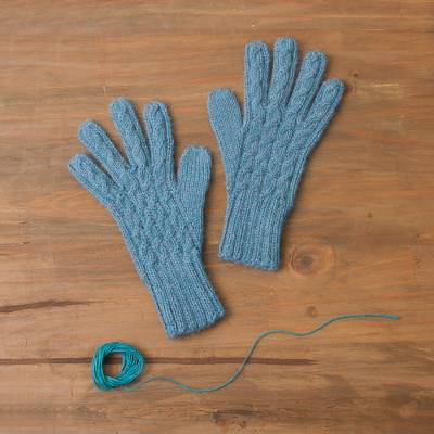 100% alpaca gloves, 'Winter Delight in Light Azure' - 100% Alpaca Knit Gloves in Light Azure from Peru