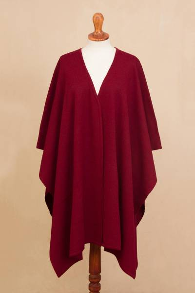 Alpaca blend ruana, 'Elegant Fashion in Claret' - Knit Alpaca Blend Ruana in Claret from Peru