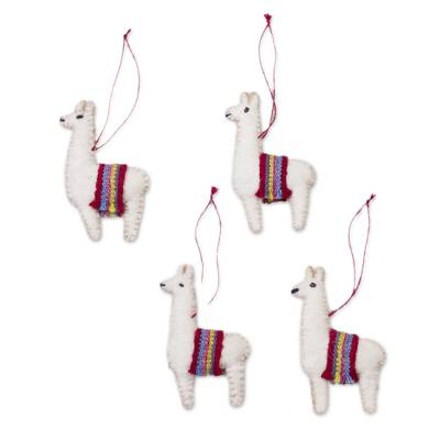 100% Alpaca Llama Ornaments from Peru (Set of 4)