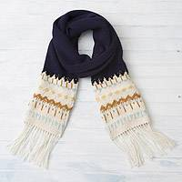 100% alpaca scarf, 'Midnight Comfort' - Midnight and Antique White 100% Alpaca Wrap Scarf from Peru