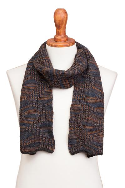 100% alpaca scarf, 'Warm Waves' - Azure and Sunrise 100% Alpaca Wrap Scarf from Peru