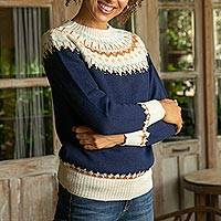 100% alpaca pullover, 'Midnight Comfort' - Midnight and Antique White 100% Alpaca Pullover from Peru
