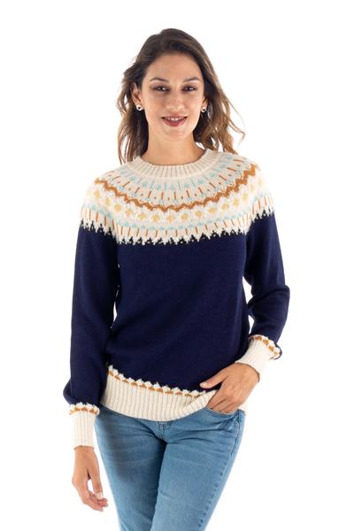 100% alpaca pullover, 'Midnight Comfort' - Midnight and Antique White 100% Alpaca Pullover from Peru