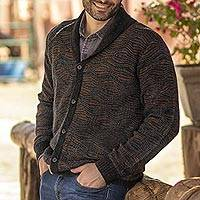 Men's 100% alpaca cardigan, 'Warm Waves' - Azure and Sunrise Men's 100% Alpaca Cardigan from Peru