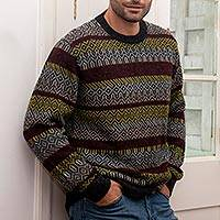 Men's 100% alpaca pullover, 'Winter Charm' - Colorful Men's 100% Alpaca Pullover from Peru
