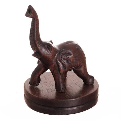 Cedar Wood Sculpture of a Trumpeting Elephant from Peru