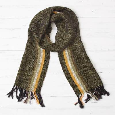100% alpaca scarf, 'Green Earth' - Handwoven 100% Alpaca Wrap Scarf from Peru