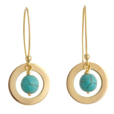24k Gold Plated Reconstituted Turquoise Dangle Earrings