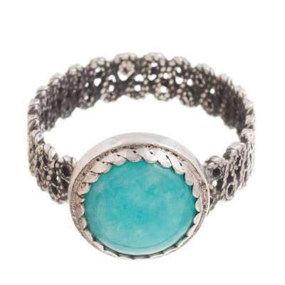 Amazonite Cocktail Ring with a Filigree Band from Peru