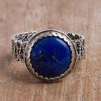 Lapis lazuli filigree cocktail ring, 'Andean Power' - Lapis Lazuli Cocktail Ring with a Filigree Band from Peru