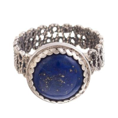 Lapis Lazuli Cocktail Ring with a Filigree Band from Peru