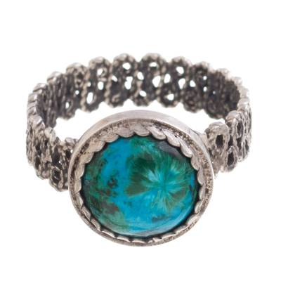 Chrysocolla Cocktail Ring with a Filigree Band from Peru