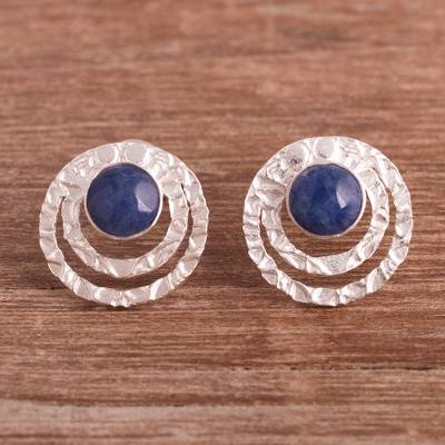 Sodalite button earrings, 'Blue Vibrations' - Sodalite and Sterling Silver Button Earrings from Peru