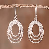 Sterling silver dangle earrings, 'Oval Glisten' - Combination Finish Sterling Silver Oval Dangle Earrings
