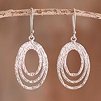 Sterling silver dangle earrings, 'Oval Glisten'