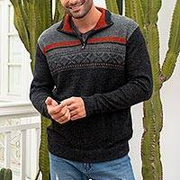 Men's 100% alpaca pullover, 'Winter Traveler' - Men's Grey 100% Alpaca Pullover from Peru