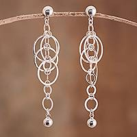 Sterling silver dangle earrings, 'Intricate Links' - Linked Sterling Silver Dangle Earrings from Peru