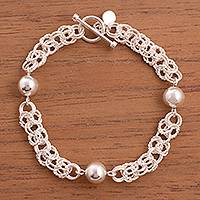 Sterling silver link bracelet, 'Elegant Baubles' - Sterling Silver Link Bracelet with Baubles from Peru