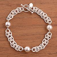 Sterling silver link bracelet, 'Elegant Baubles'