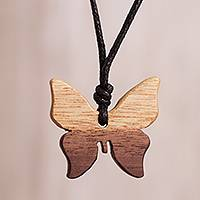 Wood pendant necklace, 'Light Brown Butterfly' - Light Brown Wood Butterfly Pendant Necklace from Peru