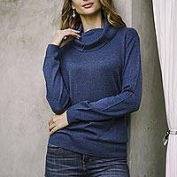Cotton blend pullover, 'Royal Blue Versatility' - Knit Cotton Blend Pullover in Solid Royal Blue from Peru