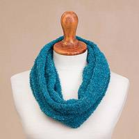 Alpaca blend neck warmer, 'Divine Warmth in Teal' - Alpaca Blend Neck Warmer in Solid Teal from Peru