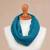 Alpaca blend neck warmer, 'Divine Warmth in Teal' - Alpaca Blend Neck Warmer in Solid Teal from Peru (image 2b) thumbail