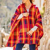 Alpaca blend poncho, 'Cuzco Sunset' - Colorful Alpaca Blend Poncho from Peru