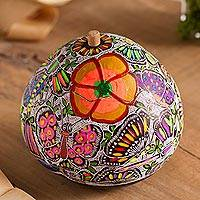Gourd decorative jar, 'Garden of the Butterflies' - Floral and Butterfly Motif Gourd Decorative Jar from Peru