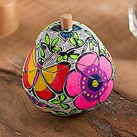 Gourd decorative jar, 'Colorful Morning' - Hand-Painted Gourd Decorative Jar from Peru
