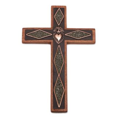 Copper and wood wall cross, 'Faith Glitters' - Copper and Wood Wall Cross with Pyrite Accents from Peru