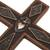 Copper and wood wall cross, 'Faith Glitters' - Copper and Wood Wall Cross with Pyrite Accents from Peru (image 2c) thumbail