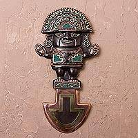 Bronze and copper wall sculpture, 'Divine Tumi' - Tumi Ax Copper and Bronze Wall Sculpture with Chrysocolla