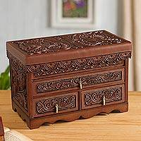 Leather and cedar wood jewelry chest, 'Elegant Colony' - Colonial Leather and Cedar Wood Jewelry Chest from Peru