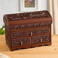 Leather and cedar wood jewelry chest, 'Paradise in the Forest'