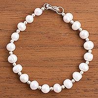 Cultured pearl beaded bracelet, 'Shimmering Peru' - Cultured Pearl and Sterling Silver Beaded Bracelet