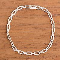 Sterling silver link bracelet, 'Minimalist Flair' - High-Polish Sterling Silver Link Bracelet from Peru